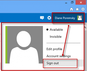 Sign out of outlook.com
