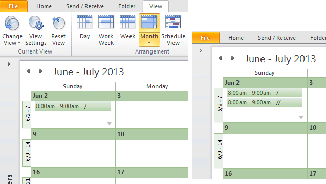 how to change calendar view in outlook 2010
