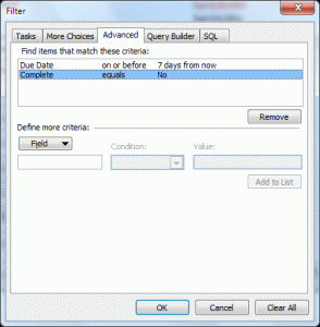 Microsoft Outlook Tasks filter