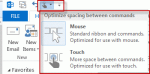 select mouse or touch