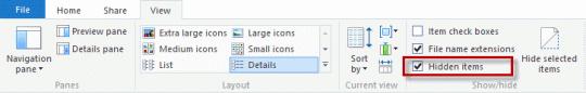 Windows 8 hidden items